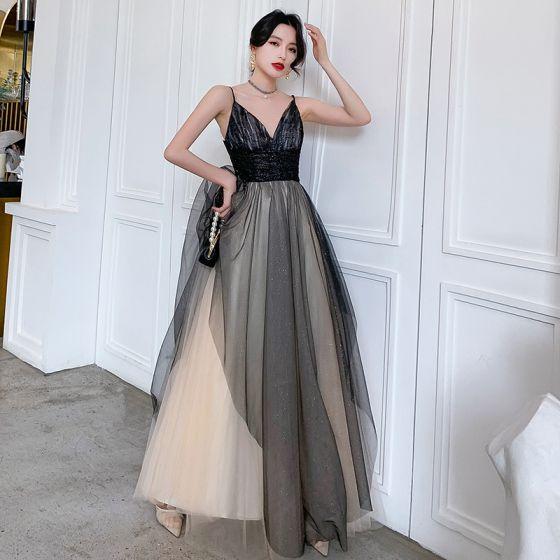 Hermoso Negro Vestidos de noche 2020 A-Line / Princess Spaghetti Straps Sin Mangas Glitter Tul Largos Ruffle Sin Espalda Vestidos Formales