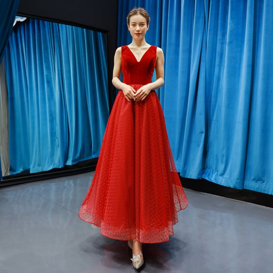 Classy Burgundy Suede Prom Dresses 2019 A-Line / Princess V-Neck Sleeveless Heart-shaped Tulle Ankle Length Ruffle Backless Formal Dresses