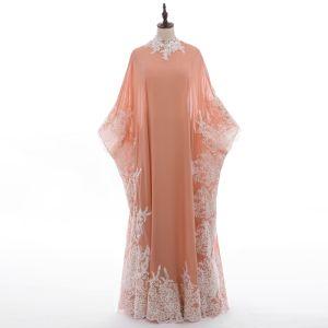 Vintage 2 Stück Pearl Rosa Abendkleider 2018 A Linie Rundhalsausschnitt Applikationen Spitze Lange Ärmel Lange Festliche Kleider