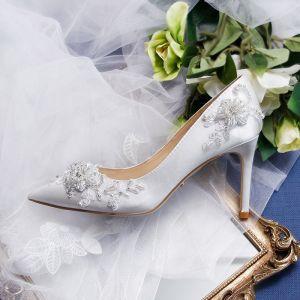 Eleganckie Kość Słoniowa Frezowanie Buty Ślubne 2020 Skórzany Kryształ Rhinestone Perła 9 cm Szpilki Szpiczaste Ślub Czółenka