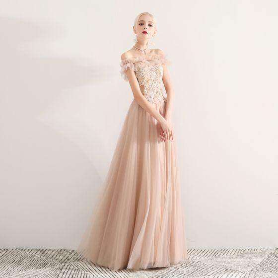 be65ee3a7 Elegantes Champán Vestidos de gala 2019 A-Line   Princess Fuera Del Hombro  Con Encaje Apliques Rebordear Crystal Perla Rhinestone Ruffle Manga ...