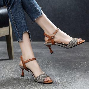 Vintage / Retro Casual Brown Womens Sandals 2019 Leather Ankle Strap 6 cm Stiletto Heels Open / Peep Toe Sandals