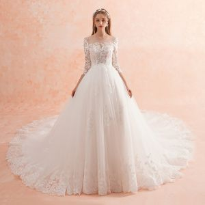 Elegant Ivory Wedding Dresses 2019 A-Line / Princess Scoop Neck Lace Flower 3/4 Sleeve Backless Royal Train