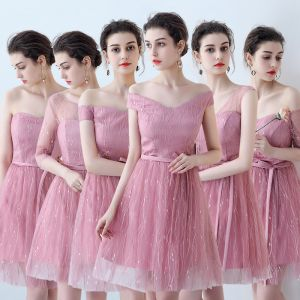 Affordable Chic / Beautiful Candy Pink Bridesmaid Dresses 2018 A-Line / Princess Appliques Lace Sash Short Ruffle Backless Wedding Party Dresses