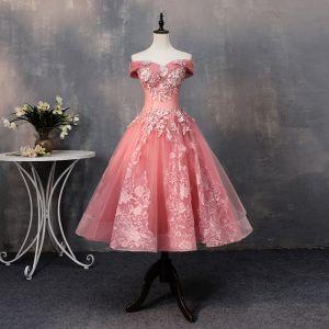 Chic / Belle Watermelon Rouge Robe De Bal 2019 Princesse Appliques En Dentelle Perle De l'épaule Dos Nu Manches Courtes Courte Robe De Ceremonie
