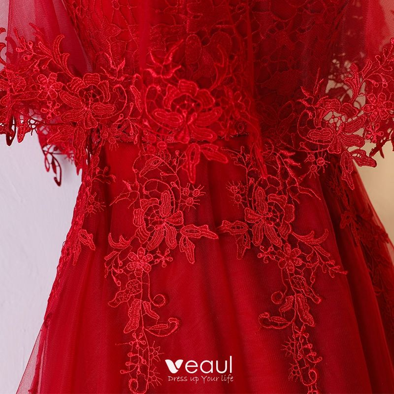 Chic / Beautiful Red Formal Dresses 2017 Lace Flower Sweetheart 1/2 Sleeves Backless Asymmetrical A-Line / Princess Evening Dresses