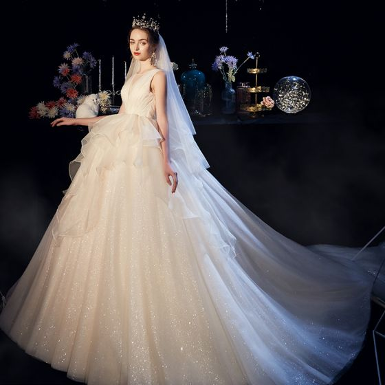 Bling Bling Champagne Organza Wedding Dresses 2019 Ball Gown See Through Deep V Neck Sleeveless Backless