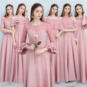 Betaalbare Candy Roze Bruidsmeisjes Jurken 2019 A lijn Gordel Appliques Bloem Lange Ruche Ruglooze Jurken Voor Bruiloft