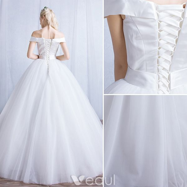 Simple Wedding Dresses 2016 Ball Gown Off The Shoulder Satin With White Tulle Bridal Gown
