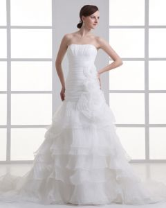 Organza Flower Strapless Court Train Tiered Mermaid Wedding Dress