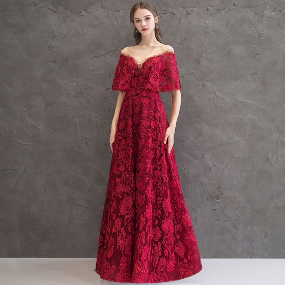 Best Burgundy See-through Evening Dresses  2019 A-Line / Princess Scoop Neck Short Sleeve Appliques Lace Rhinestone Floor-Length / Long Backless Formal Dresses