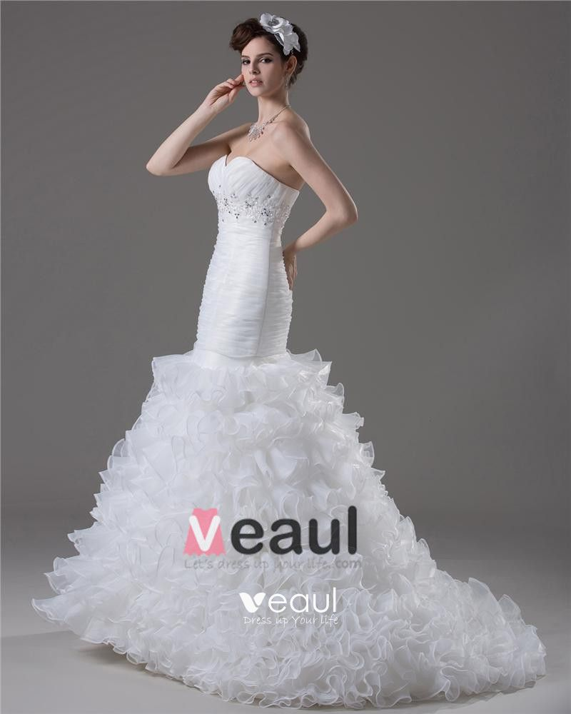 Sweetheart Beading Floor Length Yarn Mermaid Wedding Dress
