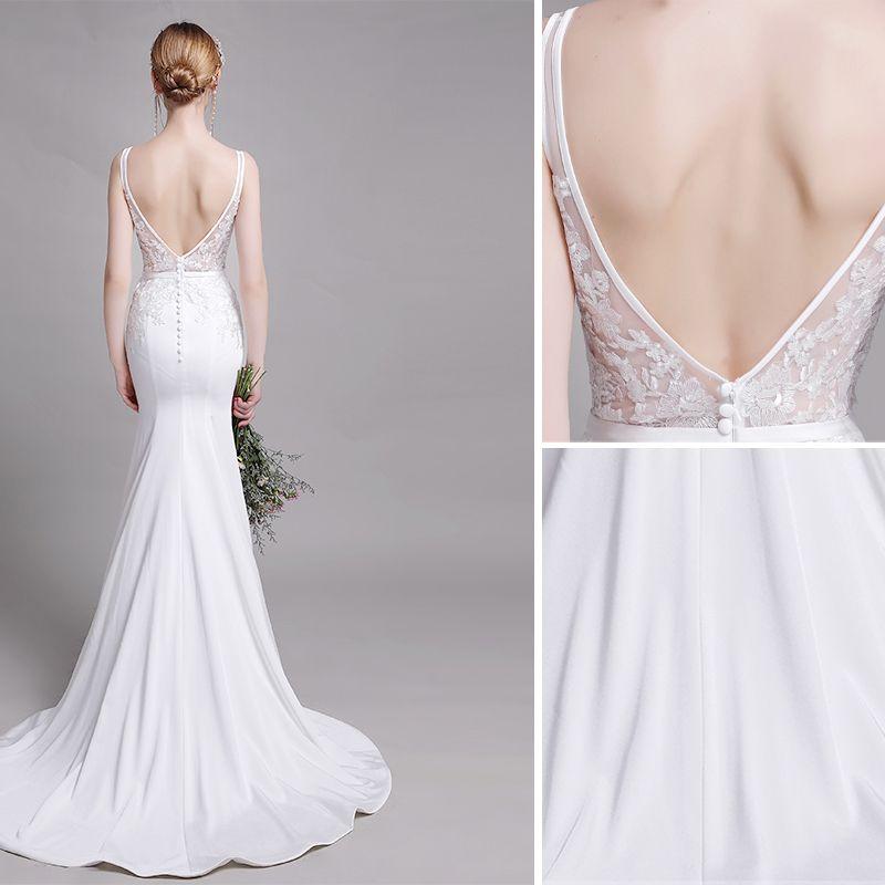 Chic / Beautiful White Wedding Dresses 2019 Trumpet / Mermaid V-Neck Lace Flower Sleeveless Backless Sweep Train
