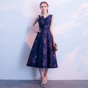 Chic / Beautiful Purple Graduation Dresses 2018 A-Line / Princess V-Neck Backless Starry Sky Printing Homecoming Formal Dresses