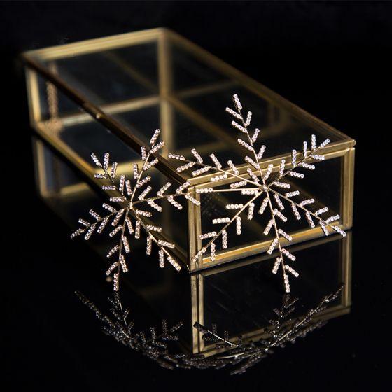 Enkel Guld Hårpynt 2020 Metal Rhinestone Hårpynt Bryllups Accessories