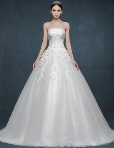 2015 Fashionable Lace Bra-type Romantic Bride Trailing Wedding Dress