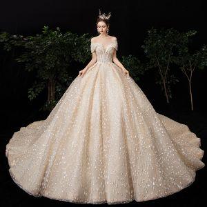 Luxe Champagne Robe De Mariée 2020 Robe Boule De l'épaule Manches Courtes Dos Nu Perlage Glitter Paillettes Tulle Royal Train Volants