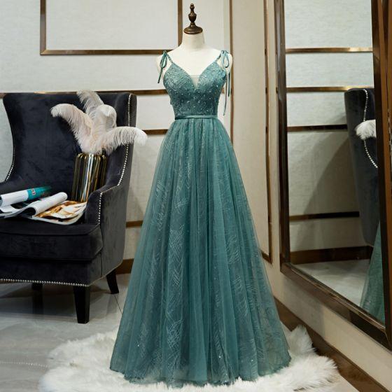 Classy Jade Green Evening Dresses  2020 A-Line / Princess Beading Sequins Spaghetti Straps Sleeveless Backless Floor-Length / Long Formal Dresses