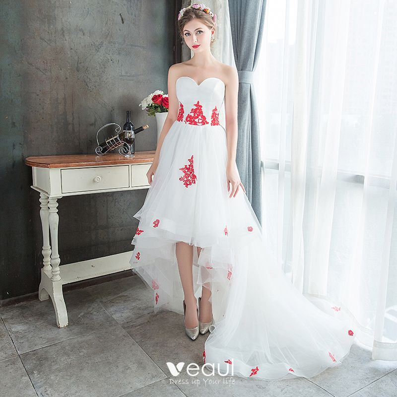 2019 New Floral Lace Sweetheart Summer Beach Wedding Dresses Bridal Gown Short