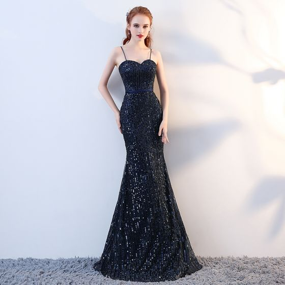 Luxury / Gorgeous Navy Blue Evening Dresses  2017 Trumpet / Mermaid Sequins Beading Spaghetti Straps Backless Sleeveless Floor-Length / Long Formal Dresses