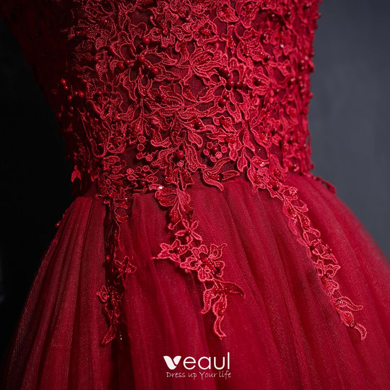 Chic / Beautiful Red Formal Dresses 2017 Lace Flower Sequins High Neck Sleeveless Floor-Length / Long Ball Gown Evening Dresses