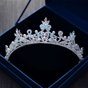 Classic Elegant Ocean Blue Bridal Jewelry 2017 Metal Beading Crystal Rhinestone Headpieces Wedding Prom Accessories