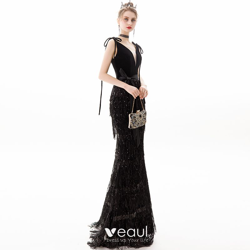 Chic / Beautiful Black Evening Dresses  2019 Trumpet / Mermaid V-Neck Sequins Tassel Bow Sleeveless Backless Floor-Length / Long Formal Dresses