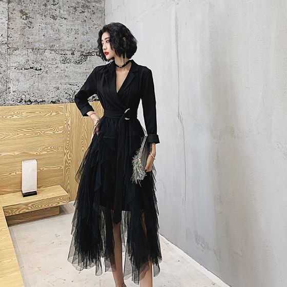 Piękne Czarne Homecoming Sukienki Na Studniówke 2021 Princessa V-Szyja 3/4 Rękawy Długość Herbaty Kaskadowe Falbany Sukienki Wizytowe
