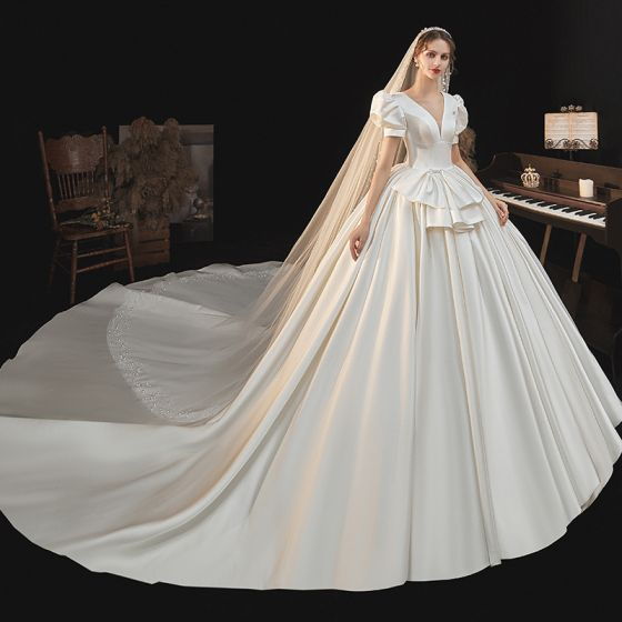 Victorian Style Ivory Satin Wedding Dresses 2021 Ball Gown Deep V-Neck Bell sleeves Backless Royal Train Wedding