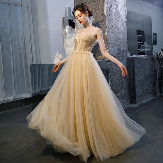 Sexy Champagne Prom Dresses 2020 A-Line / Princess Spaghetti Straps Deep V-Neck Sleeveless Beading Rhinestone Glitter Tulle Floor-Length / Long Ruffle Backless Formal Dresses
