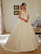 2016 Simple Deep V-neck Backless Ruffle Sash Thick Satin Wedding Dress With Bow