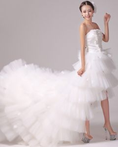 Satin Tulle Beading Flower Strapless Tiered Asymmetrical Length High Low Mini Wedding Dress