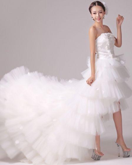 Satin Tulle Beading Flower Strapless Tiered Asymmetrical Length High Low Mini Wedding Dress
