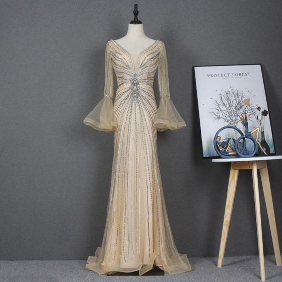 High-end Gold Red Carpet Evening Dresses  2020 Trumpet / Mermaid See-through Deep V-Neck Long Sleeve Bell sleeves Beading Rhinestone Sequins Sweep Train Ruffle Backless Formal Dresses