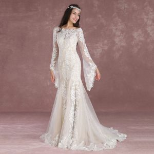 Elegant Champagne Pierced Wedding Dresses 2018 Trumpet / Mermaid Square Neckline Long Sleeve Backless Appliques Lace Sweep Train