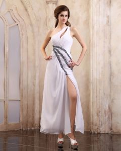 Chiffon Beading Ruffle One Shoulder Ankle Length Evening Dresses