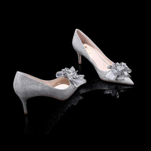 Sparkly Bling Bling Silver Womens Shoes 2019 Leather Beading Flower Glitter Sequins Evening Party High Heels Pointed Toe Wedding Shoes