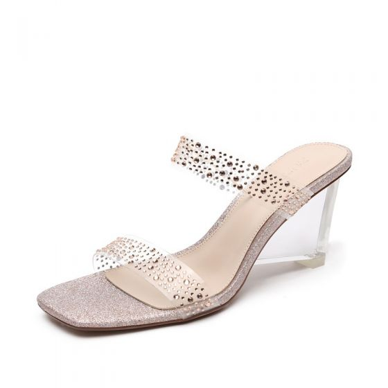 Transparent Sexy Gold Casual Womens Sandals 2020 Rhinestone 6 cm Thick Heels Open / Peep Toe Sandals