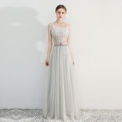 Chic / Beautiful Grey Prom Dresses 2019 A-Line / Princess Square Neckline Beading Rhinestone Sleeveless Backless Floor-Length / Long Formal Dresses