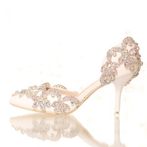 Chic / Beautiful White 2018 7 cm High Heels Pointed Toe Beading Crystal Rhinestone Wedding Prom Stiletto Heels Wedding Shoes