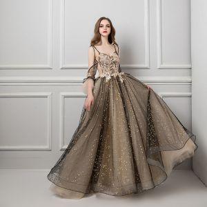 Sexy Tan Robe De Soirée 2019 Princesse Bretelles Spaghetti Manches Courtes Glitter Étoile Tulle Tribunal Train Volants Dos Nu Robe De Ceremonie
