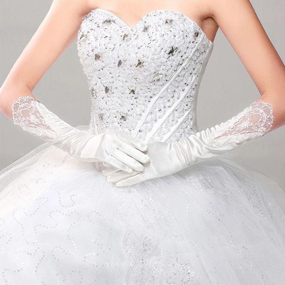Proste Białe Satynowe Rękawiczki Koronkowe Ślubne Długie Dodatki Ślubne