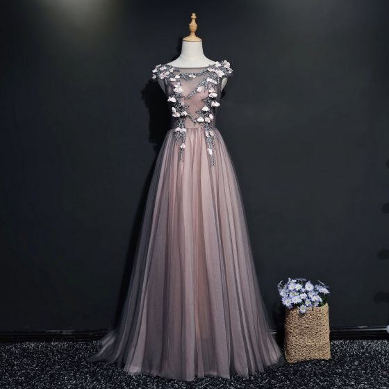 Chic / Beautiful Black Evening Dresses  2017 A-Line / Princess Scoop Neck Sleeveless Appliques Flower Pearl Court Train Ruffle Backless Formal Dresses