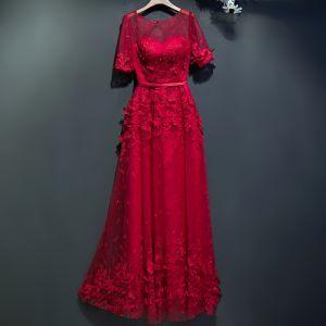 Hermoso Rojo Vestidos Formales 2017 De Encaje Flor De Tiras 1/2 Ærmer La altura del tobillo Empire Vestidos de noche