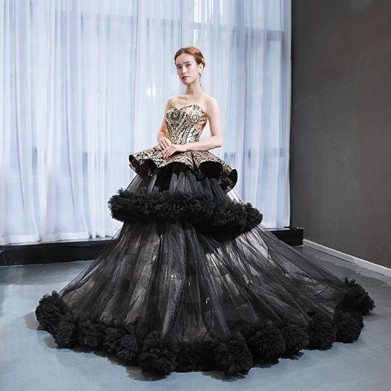 Luksusowe Czarne Czerwony dywan Sukienki Wieczorowe 2020 Princessa Kochanie Bez Rękawów Cekiny Trenem Sweep Wzburzyć Bez Pleców Sukienki Wizytowe