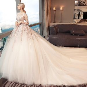 Chic / Beautiful White Pierced Wedding Dresses 2017 Ball Gown Scoop Neck Long Sleeve Appliques Lace Backless Cathedral Train