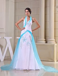 2015 Unique Sheath Halter Pleated Beading Sweep Train Prom Dress