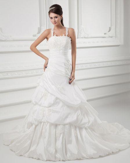 Taft Perlen Applique Faltete Spaghetti-trägern Hofzug A Linie Hochzeitskleid