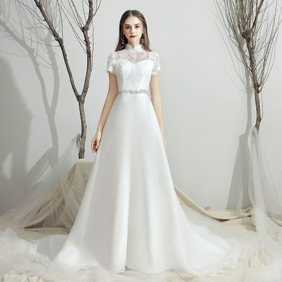 Classic White Chiffon Outdoor Garden Wedding Dresses 2019 A Line Princess See Through High Neck Short Sleeve Backless Rhinestone Sash Sweep Train