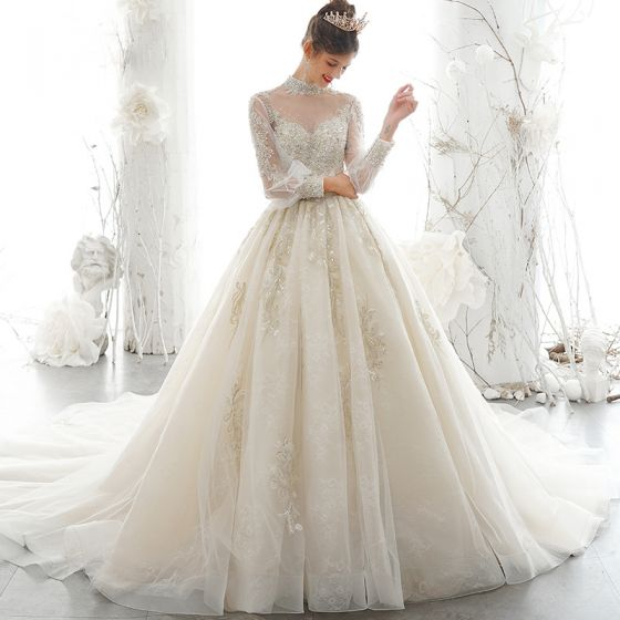 Victorian Style Champagne See-through Wedding Dresses 2020 Ball Gown High Neck Puffy Long Sleeve Backless Appliques Lace Sequins Handmade  Beading Pearl Chapel Train Ruffle